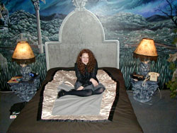 A very tired Patty kicks back on the coffin bed at Viva Las Vegas Villas
