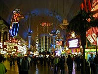 A photo of the Fremont Street's busy storefronts